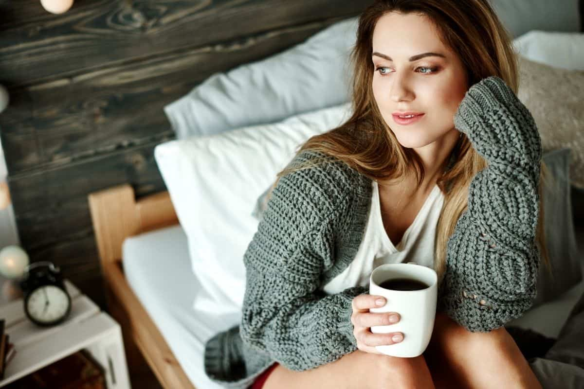 woman drinking black coffee in the morning.