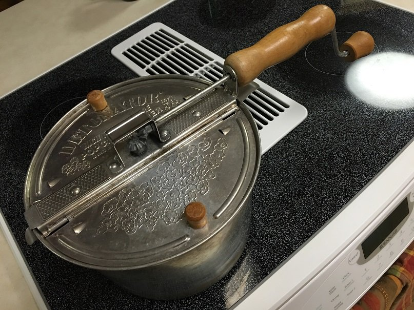 Stovetop Popcorn Popper to roast coffee beans.