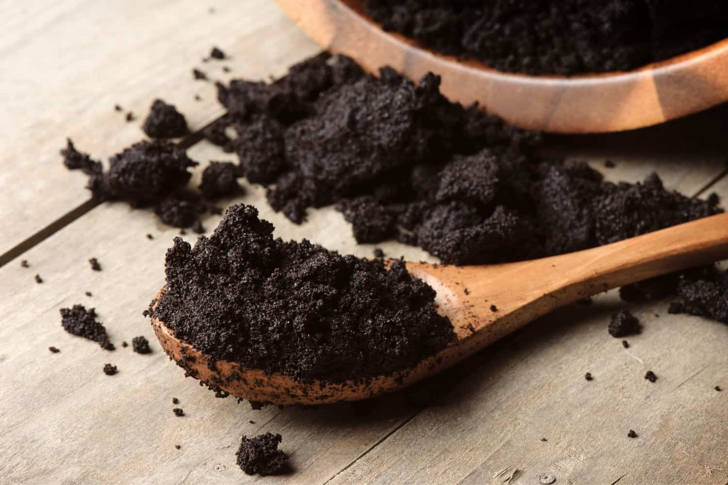 disposing coffee grounds.