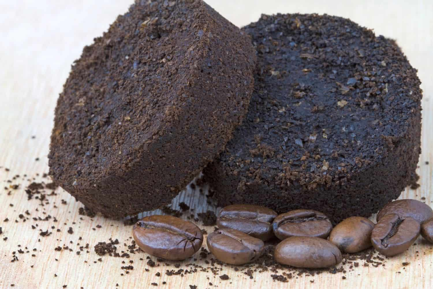 drying used coffee grounds.