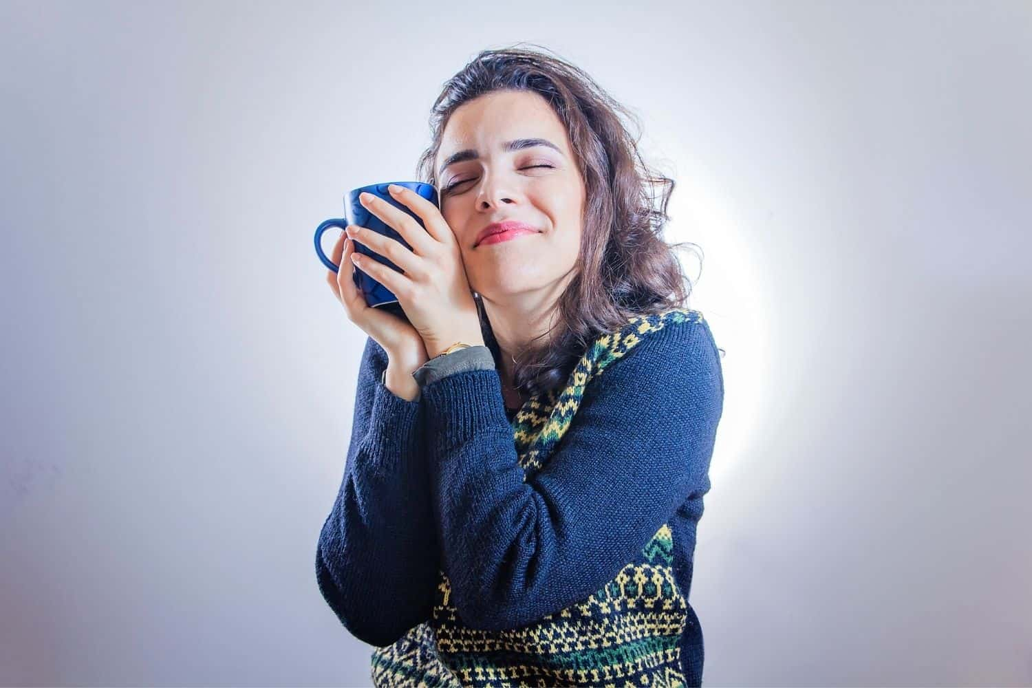 woman addicted to her coffee.