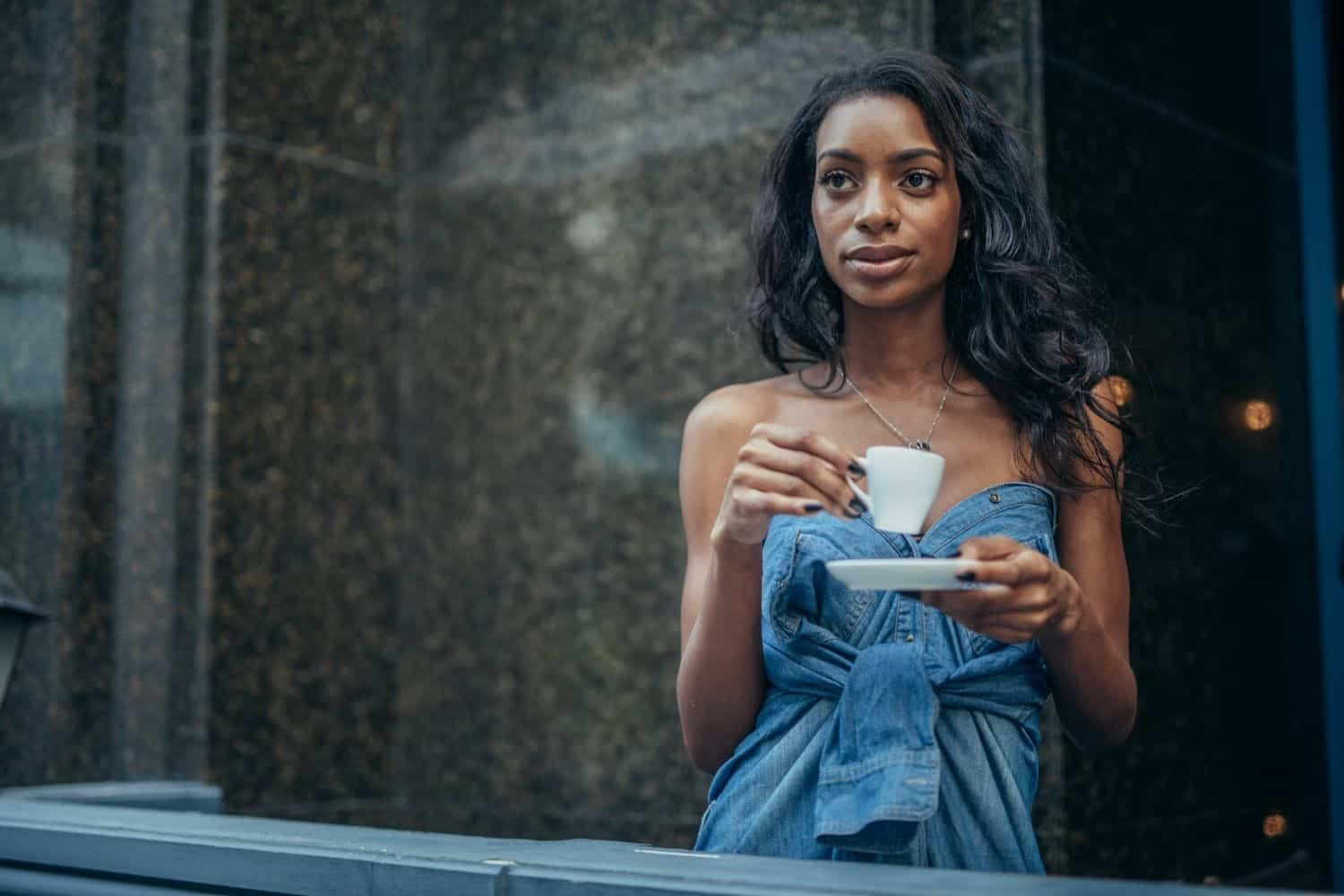 woman drinking black coffee without sugar.